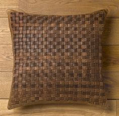 Basket Weave Leather Pillow Cover Brown