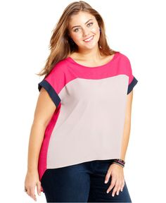 Soprano Plus Size Top, Short-Sleeve Colorblocked High-Low - Plus Size Tops - Plus Sizes - Macy's