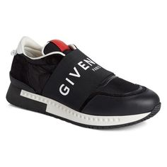 Men's Givenchy Logo Elastic Laceless Sneaker ($735) ❤ liked on Polyvore featuring men's fashion, men's shoes, men's sneakers, black leather, givenchy mens sneakers, mens monk strap shoes, mens shoes, givenchy mens shoes and mens sports shoes