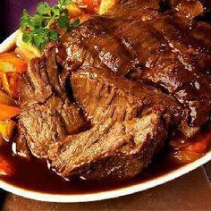 Crock pot Roast : Take one 3lb. Roast, place in slow cooker 1 pkg ranch and itallian dry salad mix. 1 pkg. Brown gravey mix and mix well. 2 cups water, or enough to cover roast, Cook  4 on high or overnight on low. Enjoy!!