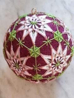 "12"" Japanese Temari Ball Michael Kashey Original Ornament String Ball Tamari"