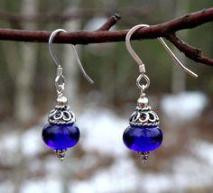 Cobalt Blue Glass Dangle Earrings Sterling by MarianneDegener, $18.00