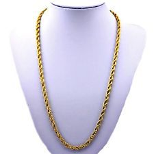 """MEN'S & WOMAN'S 5mm """"PVD BONDED 18k GOLD""""- 20"""" & 24"""" """"SOLID"""" ROPE CHAIN Necklace"""
