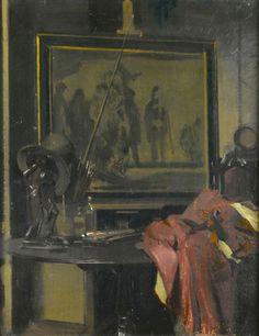 SIR HERBERT JAMES GUNN RA (Scottish 1893-1964) Souveniers of James Pryde c.1916 Oil on board | 18 1/2 x 14 1/2 inches