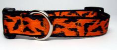 Halloween Orange with Black Bats Dog Collar by KibblesandCollars