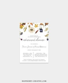 Fall Rehearsal Dinner Printable Template Fall Leaves Wedding image 5