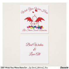 DBY Wish You Were Here for sweet memories Square Business Card