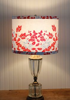 Chenille lamp shade lampshade pink floral vintage nursery floral drum shade lamp shade cottage lampshade red and blue lamp shade vintage fabric table lamp shade kitchen lamp shade aloadofball Gallery
