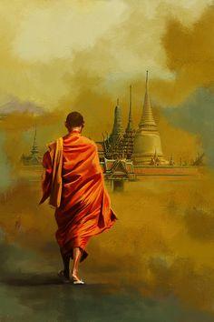 South Asia Art Painting by Corporate Art Task Force Budha Painting, Spiritual Paintings, Thai Art, Indian Art Paintings, Buddha Art, Photos Du, Watercolor Illustration, Amazing Art, Art Drawings