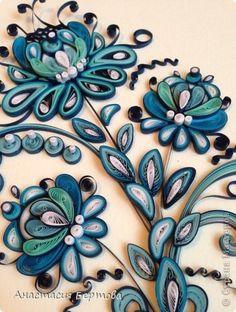 Картина панно рисунок Квиллинг Под Гжель Бумажные полосы фото 5