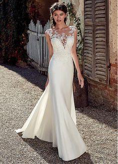 c67dbab98dc  193.50  Modest Satin Bateau Neckline Mermaid Wedding Dresses With Lace  Appliques