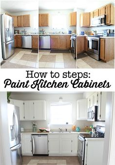 How to steps - paint your kitchen cabinets. Affordable way to fix up your dated kitchen! Using Sherwin Williams Dove White - no brush strokes!