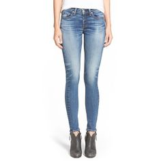 rag & bone/JEAN 'The Skinny' Stretch Jeans ($215) ❤ liked on Polyvore featuring jeans, barons, skinny fit jeans, faded jeans, stretch jeans, blue jeans and stretch skinny jeans