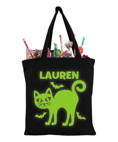 Another great find on #zulily! Halloween Cat Glow In The Dark Personalized Treat Bag by Personalized Planet #zulilyfinds
