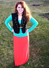 Bright maxi skirt and vest