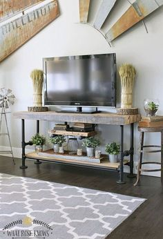 reclaimed wood black pipe tv stand, diy, home decor, living room ideas, plumbing, rustic furniture, woodworking projects