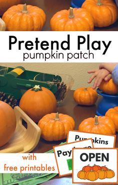 Pretend play pumpkin patch with free printables for preschoolers. Pretend play is vital for early childhood education. This fall pumpkin patch pretend play idea is perfect for your preschool classroom. Dramatic Play Themes, Dramatic Play Area, Dramatic Play Centers, Fall Preschool Activities, Preschool Classroom, Toddler Activities, Preschool Fall Theme, October Preschool Themes, Daycare Curriculum