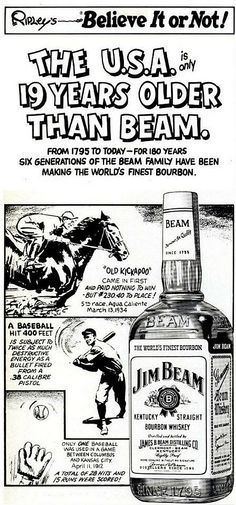 Fantastic 1975 advertisement featuring 2 American Classics – Jim Beam & Ripley's – getting together for mutual marketing benefit. I would have loved to party with both of these guys. Vintage Labels, Vintage Ads, Vintage Posters, Bourbon Whiskey, Whisky, Tennessee, Ripley Believe It Or Not, Funny Caricatures, Kentucky