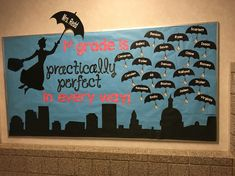 """made this year practically perfect in every way."""" Kids write favorite things about teacher on little umbrella and kite cutouts. (Can be colored not black if worried about using white markers. Classroom Welcome, Disney Classroom, Classroom Bulletin Boards, Music Classroom, Classroom Themes, School Classroom, Preschool Bulletin, Disney Bulletin Boards, Music Bulletin Boards"""