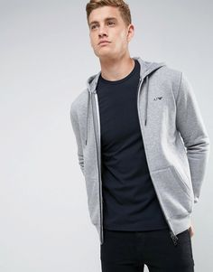 Armani Jeans Zip Through Hooded Logo Sweat Gray by Armani Jeans http://ift.tt/2mado6s
