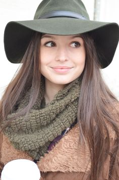 Beautiful! Belted dark green fedora and infinity scarf. Cozy Winter Style at JONDIE.
