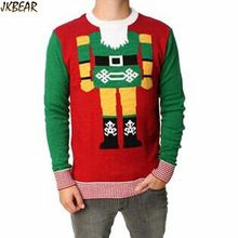 Lovely The Nutcracker Patterned Ugly Christmas Sweaters for Men Plus Size Cute Holiday Jumpers S-XXL(China (Mainland))
