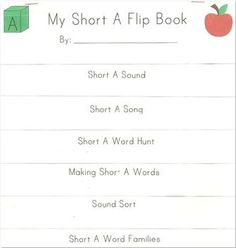 """FREE!  Fun """"Short A"""" activity flip book.  Super easy assembly.  Just copy, fold, and staple."""
