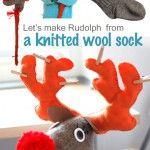 rigolo et pas trop compliqué : Let's make Rudolph the red-nosed reindeer from a knitted wool sock
