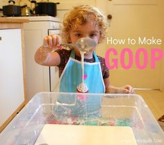 Do you want to learn how to make goop? This simple recipe combines cornstarch and water for a fun sensory experience that kids and adults will enjoy. Sensory Bins, Sensory Activities, Preschool Activities, Sensory Play, Group Activities, Indoor Activities, Projects For Kids, Crafts For Kids, Creative Play