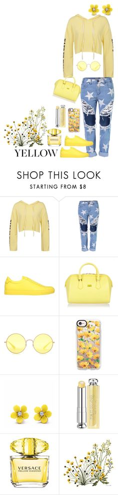 """""""yellow"""" by heidibartholdy on Polyvore featuring Sans Souci, Givenchy, Patrizia Pepe, Ray-Ban, Casetify, WithChic, Christian Dior, Versace and Vikki Chu"""