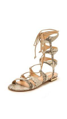 Schutz Erlina lace up snake skin sandals