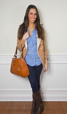Love this look!  Chambray, blazer, & boots!