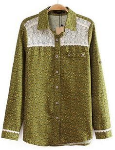 Green Lapel Long Sleeve Contrast Lace Floral Blouse - abaday.com
