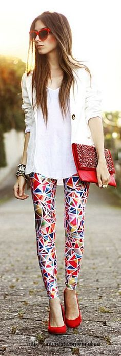 Psychedelic pants with white shirt and blazer.