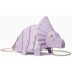 Kate Spade Whimsies Triceratops Crossbody ($265) ❤ liked on Polyvore featuring bags, handbags, shoulder bags, purple handbags, purse shoulder bag, crossbody purses, purple cross body purse and purple purse