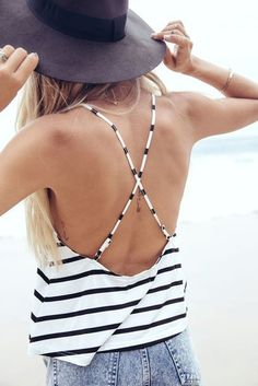 Tank top: backless top striped top stripes black hat summer outfits criss cross criss cross back