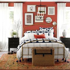 Our Lorraine Bed is hand crafted of metal with slender rails accented with simple turnings. Includes headboard, footboard and side rails. Headboard And Footboard, Headboards For Beds, Benjamin Moore, Brass Bed, Guest Bedrooms, Master Bedroom, Guest Room, Antique Beds, Stylish Beds