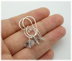 Herkimer diamond earrings Raw herkimer quartz earrings