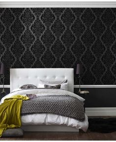 Graham & Brown offers a wide selection of Damask wallpaper and wall coverings for your home. Shop for modern design wallpaper and Damask wall coverings now. Dream Bedroom, Home Bedroom, Bedroom Decor, Bedroom Black, Bedroom Ideas, Upstairs Bedroom, Bedroom Chair, Bed Room, Damask Bedroom