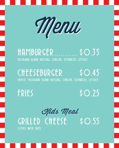 Soda Shop Retro 50s Diner Birthday Menu - Personalized - PRINTABLE- Digital File