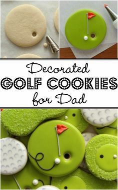How to make cute and easy decorated Golf Cookies for Father's Day Cookie decorating Golf Cookies, Fancy Cookies, Cut Out Cookies, Iced Cookies, Cute Cookies, Royal Icing Cookies, Cookies Et Biscuits, Cupcake Cookies, Golf Cupcakes