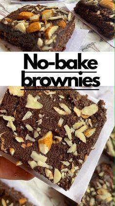 Raw Brownies, Healthy Brownies, Brownie Desserts, Brownie Recipes, Healthy Sweets, Healthy Baking, Healthy Food, Eggless Blondies Recipe, Indian Dessert Recipes