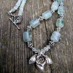 Flourite and Aquamarine Necklace by Milla's Place, via Flickr