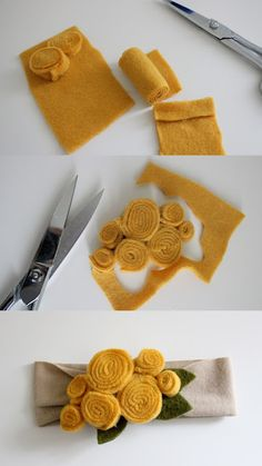 Scrappy Baby Hair Accessories - 19 DIY Fashion Projects **Would be cute on a sca. Scrappy Baby Hair Accessories - 19 DIY Fashion Projects **Would be cute on a scarf or as a broach** - Basteln - Flower Headband Tutorial, Diy Headband, Diy Baby Headbands, Felt Flower Headbands, Felt Bow Tutorial, Fall Headband, Fabric Flower Tutorial, Rose Tutorial, Fabric Headbands