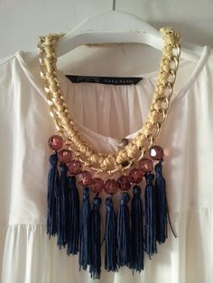 statement necklace with tassel-chain necklace