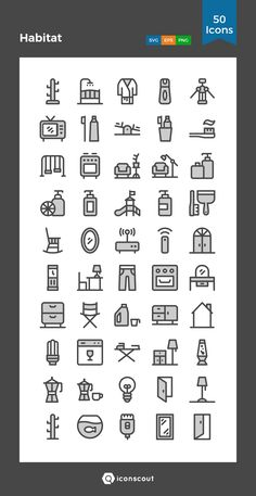 Habitat   Icon Pack - 50 Filled Outline Icons