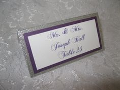 Silver & Purple Tented Place Cards