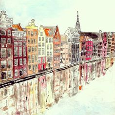 Amsterdam Art Print by Wildflower Illustration Co. Amsterdam Art, Amsterdam Houses, Amsterdam Bridge, Watercolor And Ink, Watercolor Paintings, Watercolours, Watercolour Drawings, Art Aquarelle, Inspiration Art