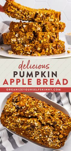 This Pumpkin Apple Bread is everything you love about fall baked into a healthy quick bread recipe. Bake a loaf for healthy snacks all week or freeze for a tasty treat throughout the month. Organize Yourself Skinny Healthy Snack Recipes for Fall   Healthy Dessert Recipes Healthy Desserts For Kids, Healthy Dessert Recipes, Healthy Baking, Brunch Recipes, Fall Recipes, Healthy Snacks, Easy Desserts, Snack Recipes, Fun Baking Recipes