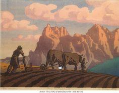 ✨  Anton Terza - Der Schlern / Pflügende Bauern, 1942, Farb-Holzschnitt, 30 x 40 cm